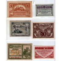 Австрия нотгельды 6 штук (5) 50 геллеров.