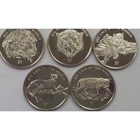 Набор 5 монет Сьерра-Леоне 1 доллар 2001г Большие кошки Фауна Животные