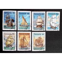 Танзания 1994 г. Корабли. Парусники. Флот, полная серия из 7 марок #0044-Т1P10