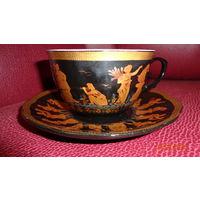 Оригинальная фарфоровая  чайная пара. Кобальт, золото, винтаж.