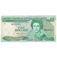 Санта-Лючия Восточно-Карибские штаты 5 долларов образца 1986 года. Префикс номера буква L. Редкая! Состояние XF!