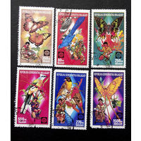 Мадагаскар 1988 г. Скаутское движение. Бабочки. Птицы. Фауна, полная серия из 6 марок #0144-Ф1