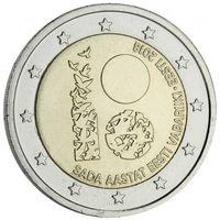2 евро 2018 Эстония 100 лет Республики UNC из ролла