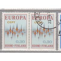 EUROPA CEPT Финляндия 1972 год лот 4 Сцепка ЧИСТАЯ и гашеная менее 25% то каталога можно раздельно