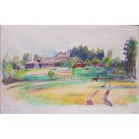 Зарисовка деревни, цветные карандаши, бумага. А4