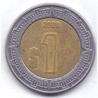Мексика,  1 песо 2000 года.