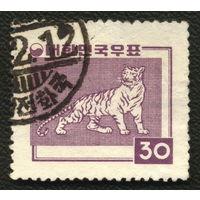 Кошки. Южная Корея. 1957. Тигр. (Mi 264) Марка из серии. Гаш.
