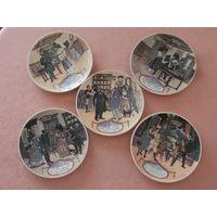 Тарелка настенная коллекционная Sarreguemines Франция 5 штук.