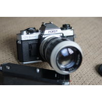 Porst CR-3 (Fujica AX-1) тушка + моторная ручка + адаптер на м42+ объектив 135mm f3.5