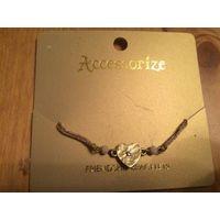 Браслет Acctssorize,новый, не носила. Очень красивый и нежный браслет с сердечком, в цвете золота.
