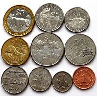 Зимбабве. Полный набор 10 монет 1 цент-25 долларов  1988-2002 год