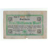 Германия, 3 миллиона марок 1923 год.
