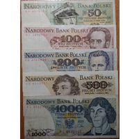 50+100+200+500+1000 Польских злотых 1975-1988г.г.