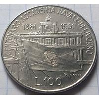 Италия 100 лир, 1981 100 лет со дня основания Морской Академии в Ливорно         ( 5-4-3 )