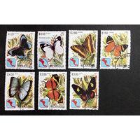 Никарагуа 1982 г. Бабочки. Насекомые. Фауна, полная серия из 7 марок #0273-Ф1P60