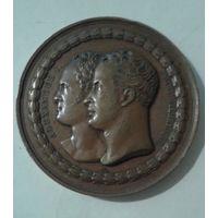 Медаль, 1818, Александр I и Фридрих Вильгельм III, d-51 мм, бронза.