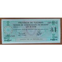 1 аустрал 1988-91 - Аргентина - провинция Тукуман - UNC