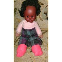 Кукла винтажная 1977 г Негритянка, заводная, мягконабивная