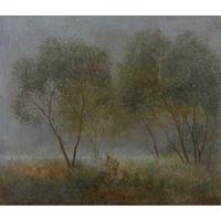 """Миниатюрная картина: """"Пейзаж и ивами"""". Автор К. В. Мельник"""
