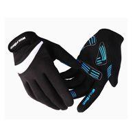 Велоперчатки Wolfbike длинные пальцы голубые, красные, черные