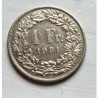 Швейцария 1 франк, 1981  2-13-2
