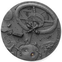 """Ниуэ 1 доллар 2018г. """"Добыча полезных ископаемых в космосе"""". Монета в капсуле; деревянном подарочном футляре; сертификат; коробка. СЕРЕБРО 31,135гр.(1 oz)."""