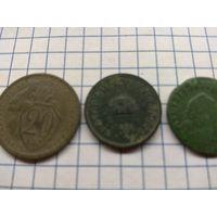 Лот монет 4шт. в красивой родной патине разные эпохи и страны