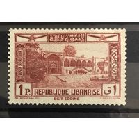 Почтовая марка 1937 Airmail - Beit ed-Dine Palace and Acropolis of Baalbek - Ливан