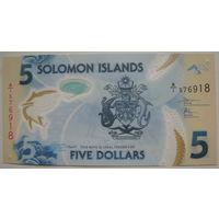 Соломоновы острова 5 долларов 2019 г. Полимерная