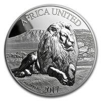 "RARE Кот-Д'Ивуар, Бенин, Мали, Нигерия, Конго 1500 франков 2017г. ""Africa United: Лев"". Монета в капсуле, шикарном подарочном футляре; сертификат; коробка. СЕРЕБРО 93,311гр.(3 oz)."