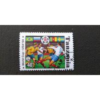 Марка Танзания 1994 год. Спорт Футбол