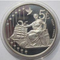 Дания, 5 евро, 2002, серебро, пруф