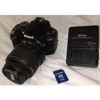 Nikon D3200 Kit 18-55mm VR бу +16гб+сумка