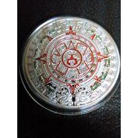 Сувенирная монета календарь майя посеребрянная,цветная