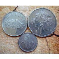 Сейшельские острова. 3 монеты 1982-2007 г.
