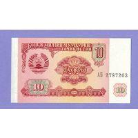 Таджикистан 10 рублей 1994г. АБ. Состояние UNC .    распродажа
