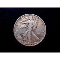 США, 1/2 доллара 1945 D  Walking Liberty Half Dollar