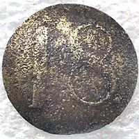 Пуговица РИА с цифрой 18.  22 мм