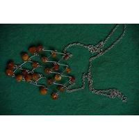 Бусы  янтарь . мельхиор ( длинна цепи 68 см )