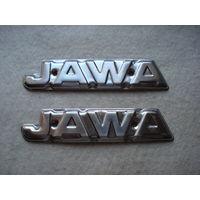 """Эмблемы на топливный бак мотоцикла """"Jawa-350"""" (модель 638-0-00), Чехословакия."""