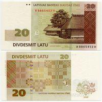 Латвия. 20 лат (образца 2009 года, P55b, UNC)