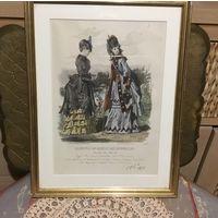 Гравюра Антикварная Журнал Мод  Париж 1872год