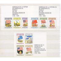 [1791] Гондурас 1976. 200-летие США.Флаги. 3 БЛОКА. MNH