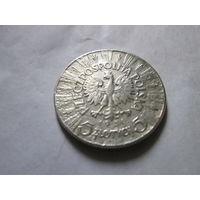 5 злотых, Польша 1936 г., Пилсудский, серебро