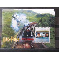 Марки - Таджикистан, 2002, блок - транспорт, техника, поезда, паровозы, железная дорога, Гарри Поттер, фауна, птицы, совы, автомобили, машины, пейзажи