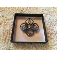Брошь Кельтский крест Розовый кварц Пьютер Шотландия