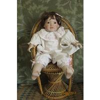 Кареглазая малышка  Фарфор кукла Авторская работа от Eva Dohath  45 см