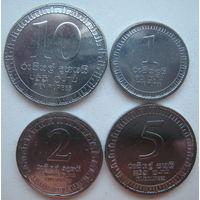 Шри-Ланка 10, 5, 2, 1 рупии 2017 г. Новый тип. Комплект