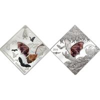 """Палау 10 долларов 2016г. """"Летучая мышь"""". Монета в капсуле; подарочном футляре; номерной сертификат; коробка. СЕРЕБРО 50гр."""