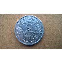 Франция 2 франка, 1945г